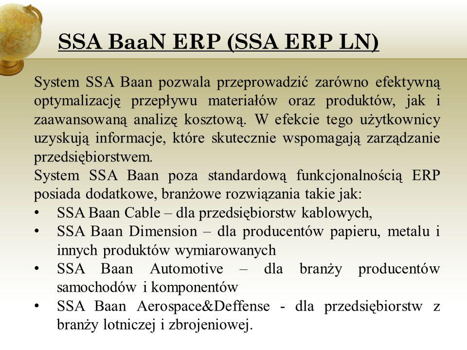 System SSA Baan pozwala przeprowadzić zarówno efektywną optymalizację przepływu materiałów oraz produktów, jak i zaawansowaną analizę kosztową. W efek