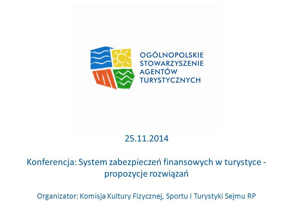 25.11.2014 Konferencja: System zabezpieczeń finansowych w turystyce - propozycje rozwiązań Organizator: Komisja Kultury Fizycznej, Sportu i Turystyki