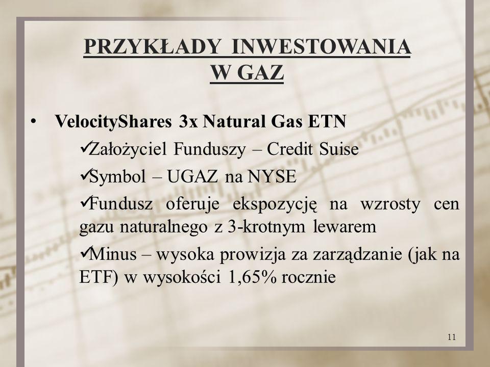 PRZYKŁADY INWESTOWANIA W GAZ VelocityShares 3x Natural Gas ETN Założyciel Funduszy – Credit Suise Symbol – UGAZ na NYSE Fundusz oferuje ekspozycję na wzrosty cen gazu naturalnego z 3-krotnym lewarem Minus – wysoka prowizja za zarządzanie (jak na ETF) w wysokości 1,65% rocznie 11