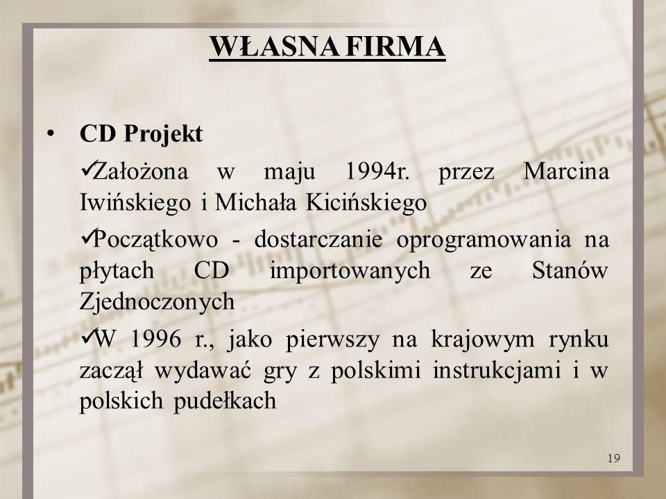 WŁASNA FIRMA CD Projekt Założona w maju 1994r.