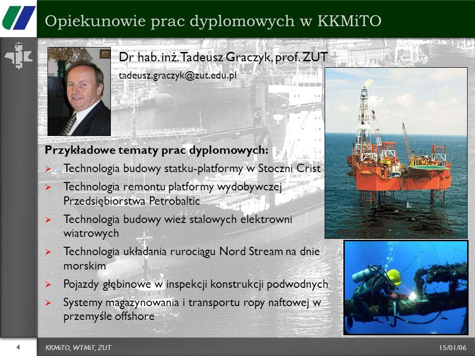 15/01/06 Dr hab. inż. Tadeusz Graczyk, prof. ZUT tadeusz.graczyk@zut.edu.pl Przykładowe tematy prac dyplomowych:  Technologia budowy statku-platformy