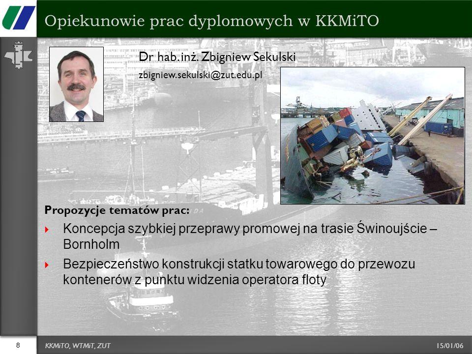 15/01/06 Dr hab. inż. Zbigniew Sekulski zbigniew.sekulski@zut.edu.pl Propozycje tematów prac:  Koncepcja szybkiej przeprawy promowej na trasie Świnou