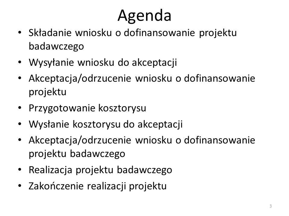 3 Agenda Składanie wniosku o dofinansowanie projektu badawczego Wysyłanie wniosku do akceptacji Akceptacja/odrzucenie wniosku o dofinansowanie projektu Przygotowanie kosztorysu Wysłanie kosztorysu do akceptacji Akceptacja/odrzucenie wniosku o dofinansowanie projektu badawczego Realizacja projektu badawczego Zakończenie realizacji projektu