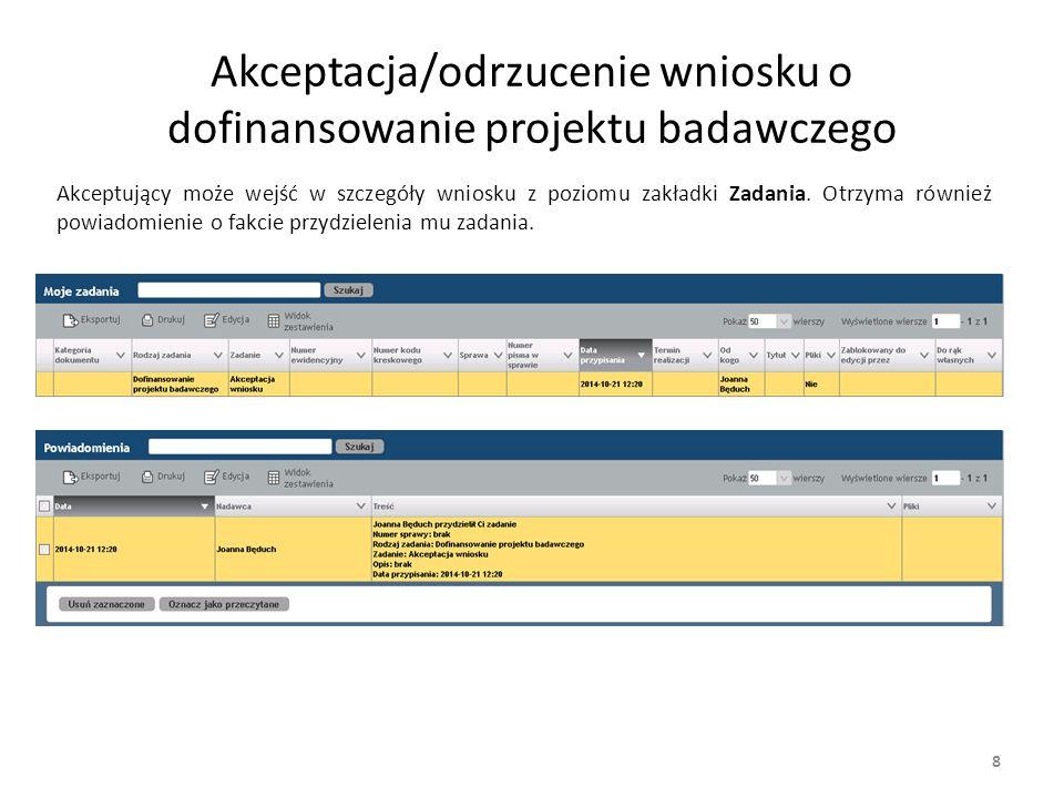 8 Akceptacja/odrzucenie wniosku o dofinansowanie projektu badawczego Akceptujący może wejść w szczegóły wniosku z poziomu zakładki Zadania. Otrzyma ró