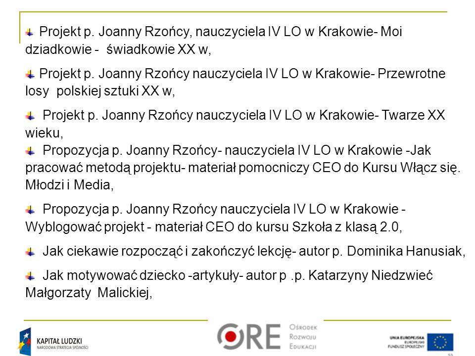 Projekt p. Joanny Rzońcy, nauczyciela IV LO w Krakowie- Moi dziadkowie - świadkowie XX w, Projekt p. Joanny Rzońcy nauczyciela IV LO w Krakowie- Przew