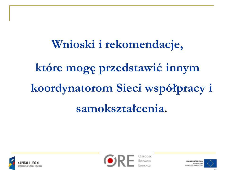 Wnioski i rekomendacje, które mogę przedstawić innym koordynatorom Sieci współpracy i samokształcenia.
