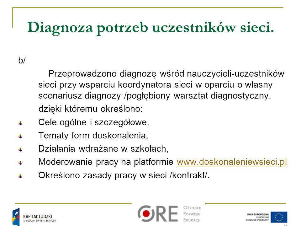 Trochę statystyki W sieci uczestniczyło 25 nauczycieli ze wszystkich etapów edukacyjnych, pracujących na terenie miasta Krakowa: Szkoły podstawowe -14 szkół, Gimnazja - 5 szkół, Ponadgimnazjalne - 6 szkół.