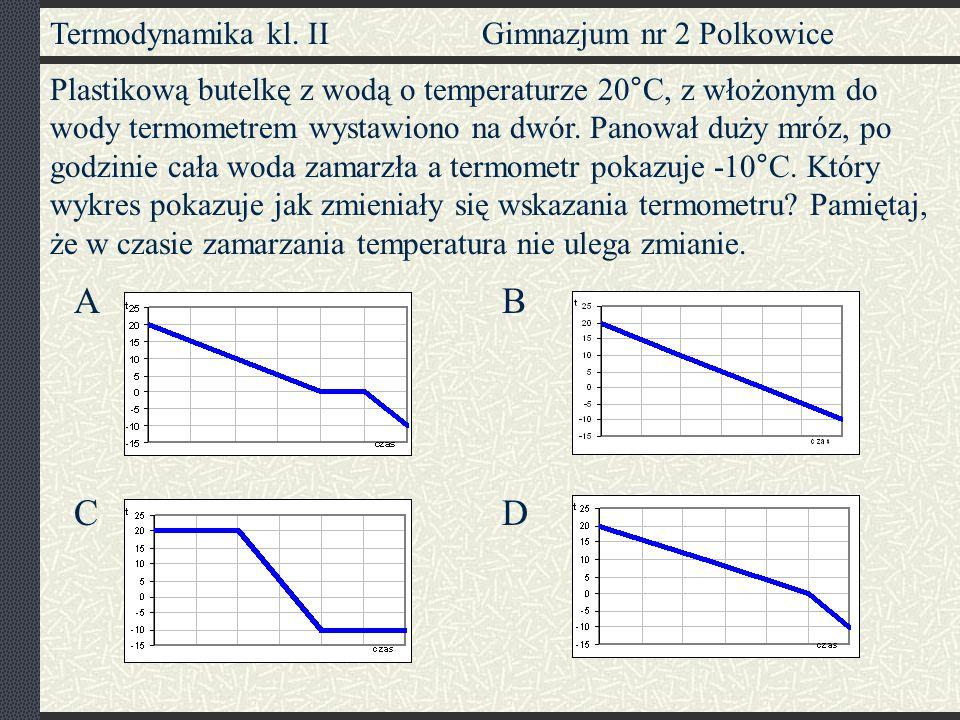 Termodynamika kl. II Gimnazjum nr 2 Polkowice Plastikową butelkę z wodą o temperaturze 20°C, z włożonym do wody termometrem wystawiono na dwór. Panowa