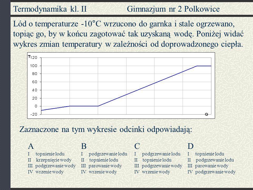 Termodynamika kl. II Gimnazjum nr 2 Polkowice Lód o temperaturze -10°C wrzucono do garnka i stale ogrzewano, topiąc go, by w końcu zagotować tak uzysk