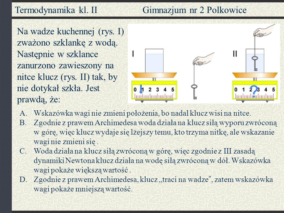 Termodynamika kl. II Gimnazjum nr 2 Polkowice Na wadze kuchennej (rys. I) zważono szklankę z wodą. Następnie w szklance zanurzono zawieszony na nitce