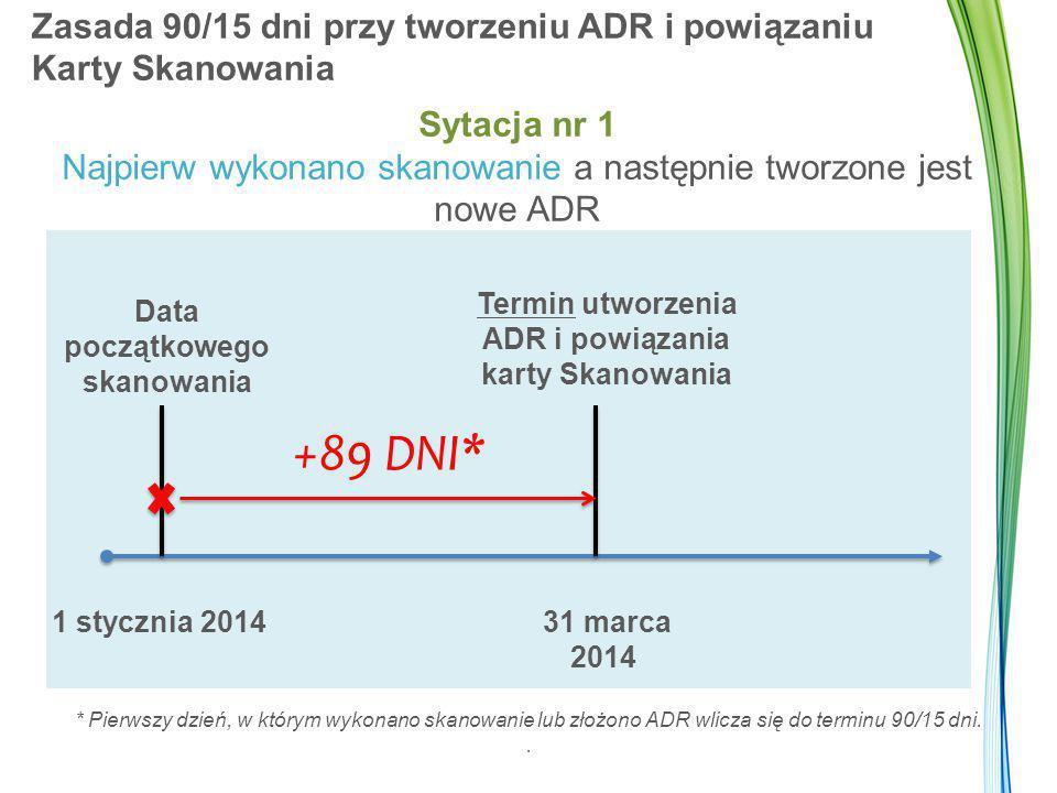 Zasada 90/15 dni przy tworzeniu ADR i powiązaniu Karty Skanowania +89 DNI* Data początkowego skanowania Termin utworzenia ADR i powiązania karty Skanowania 1 stycznia 2014 31 marca 2014 Sytacja nr 1 Najpierw wykonano skanowanie a następnie tworzone jest nowe ADR * Pierwszy dzień, w którym wykonano skanowanie lub złożono ADR wlicza się do terminu 90/15 dni..