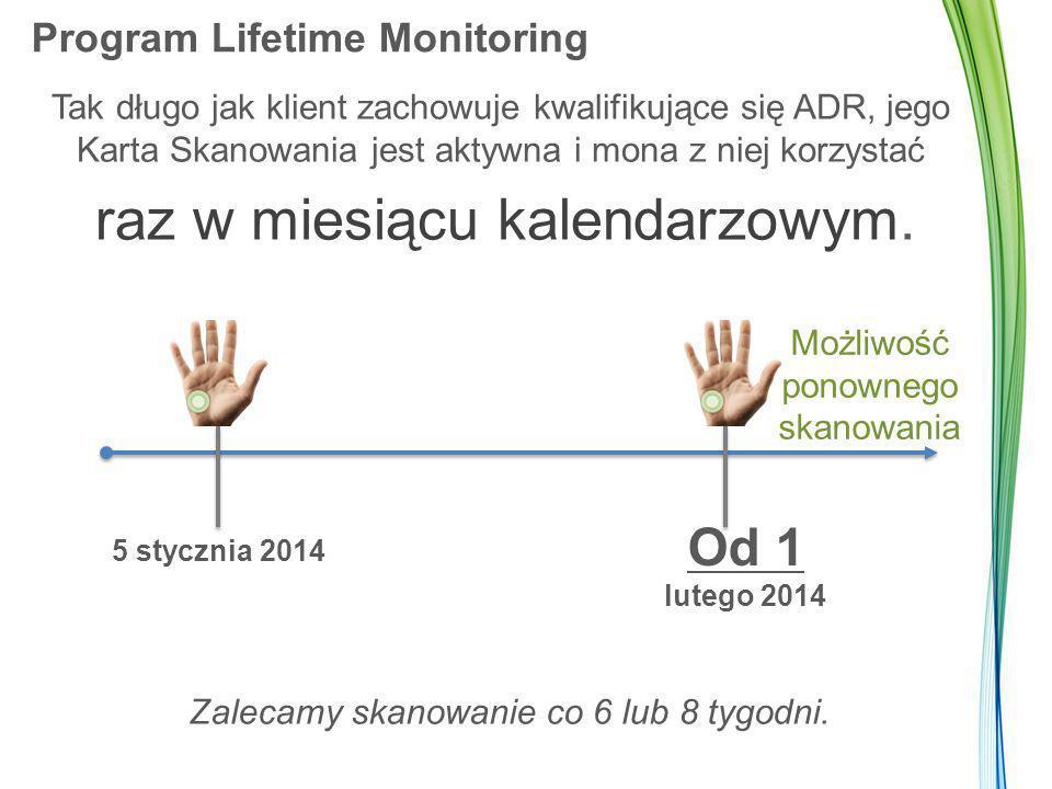 Program Lifetime Monitoring Tak długo jak klient zachowuje kwalifikujące się ADR, jego Karta Skanowania jest aktywna i mona z niej korzystać raz w mie