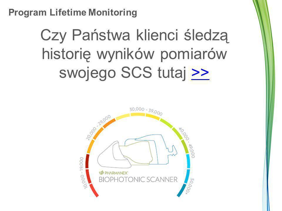 Program Lifetime Monitoring Czy Państwa klienci śledzą historię wyników pomiarów swojego SCS tutaj >>>>