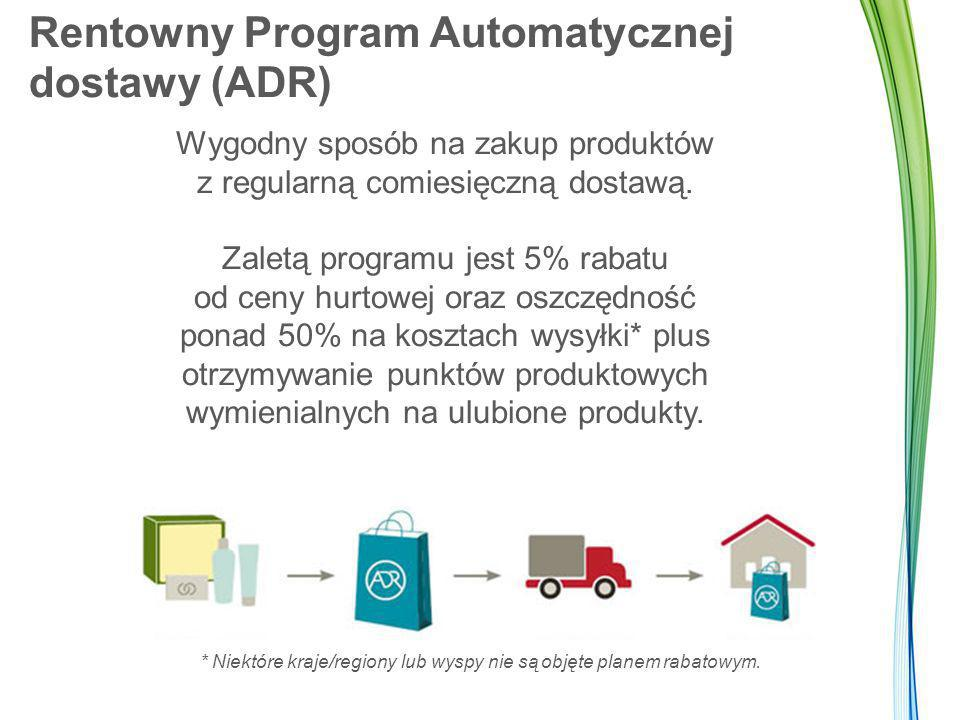 Rentowny Program Automatycznej dostawy (ADR) Wygodny sposób na zakup produktów z regularną comiesięczną dostawą. Zaletą programu jest 5% rabatu od cen
