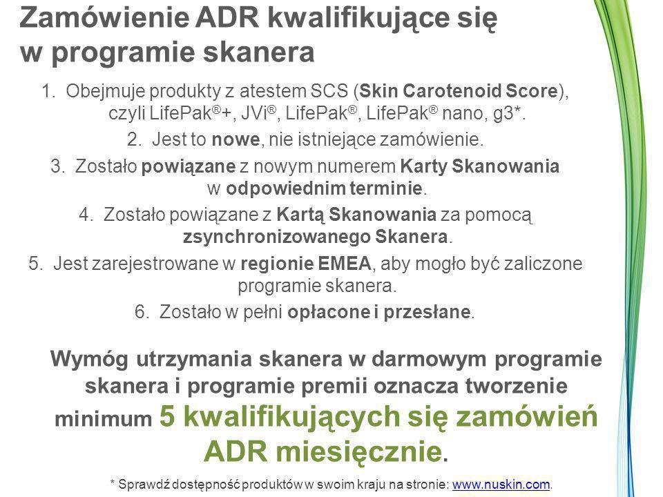 Zamówienie ADR kwalifikujące się w programie skanera 1.Obejmuje produkty z atestem SCS (Skin Carotenoid Score), czyli LifePak ® +, JVi ®, LifePak ®, LifePak ® nano, g3*.