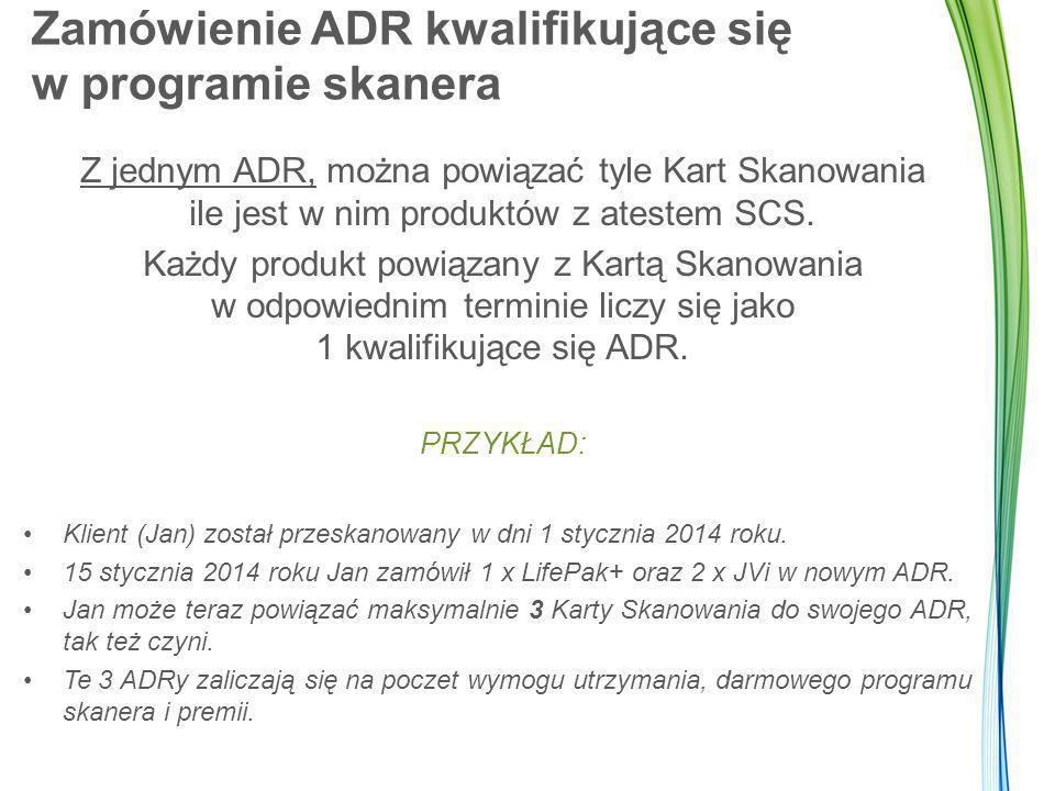 Program Lifetime Monitoring W razie anulowania zamówienia ADR lub jeśli usunięto produkt z atestem SCS z ADR, Karta Skanowania zostanie zdezaktywowana a udział w programie Lifetime Monitoring jest wstrzymany.