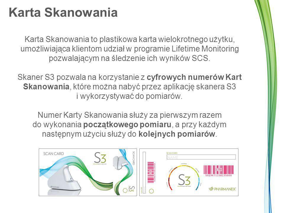 Karta Skanowania Karta Skanowania to plastikowa karta wielokrotnego użytku, umożliwiająca klientom udział w programie Lifetime Monitoring pozwalającym na śledzenie ich wyników SCS.