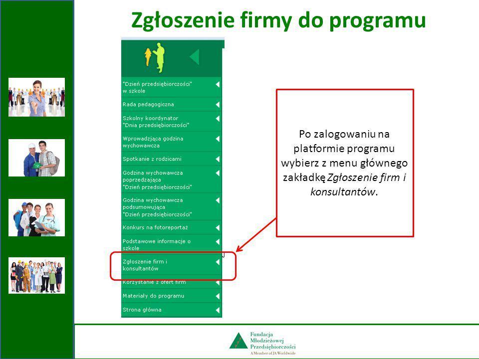 Zgłaszanie firm do programu Przycisk umożliwiający dodawanie kolejnych firm.