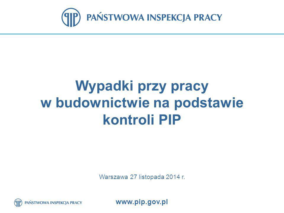 www.pip.gov.pl 12 Poszkodowani na terenie budowy przy upadkach z wysokości zbadanych przez PIP wypadkach w latach 2011 – 2013 oraz w I półroczu 2014 r.