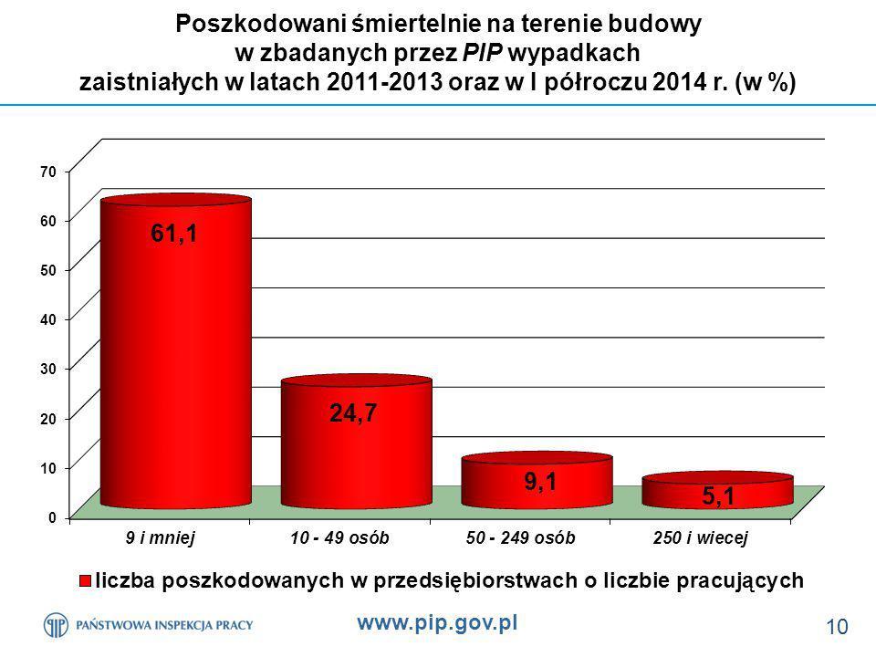 www.pip.gov.pl 10 Poszkodowani śmiertelnie na terenie budowy w zbadanych przez PIP wypadkach zaistniałych w latach 2011-2013 oraz w I półroczu 2014 r.