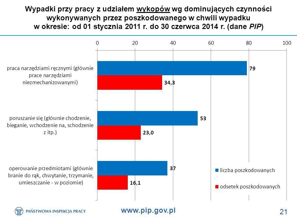 www.pip.gov.pl 21 Wypadki przy pracy z udziałem wykopów wg dominujących czynności wykonywanych przez poszkodowanego w chwili wypadku w okresie: od 01 stycznia 2011 r.