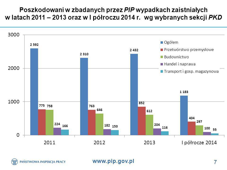 www.pip.gov.pl 18 Poszkodowani z udziałem rusztowań wg procesu pracy w okresie: od 01 stycznia 2011 r.