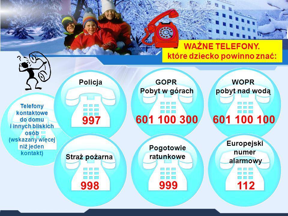 WAŻNE TELEFONY. które dziecko powinno znać: Telefony kontaktowe do domu i innych bliskich osób Telefony kontaktowe do domu i innych bliskich osób (wsk