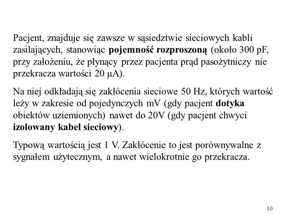 10 Pacjent, znajduje się zawsze w sąsiedztwie sieciowych kabli zasilających, stanowiąc pojemność rozproszoną (około 300 pF, przy założeniu, że płynący przez pacjenta prąd pasożytniczy nie przekracza wartości 20 μA).