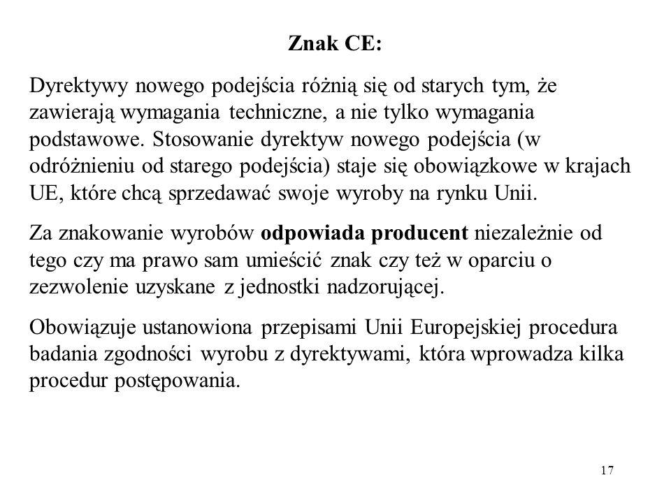 17 Znak CE: Dyrektywy nowego podejścia różnią się od starych tym, że zawierają wymagania techniczne, a nie tylko wymagania podstawowe.