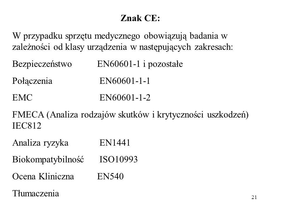 21 Znak CE: W przypadku sprzętu medycznego obowiązują badania w zależności od klasy urządzenia w następujących zakresach: BezpieczeństwoEN60601-1 i pozostałe Połączenia EN60601-1-1 EMC EN60601-1-2 FMECA (Analiza rodzajów skutków i krytyczności uszkodzeń) IEC812 Analiza ryzyka EN1441 Biokompatybilność ISO10993 Ocena Kliniczna EN540 Tłumaczenia