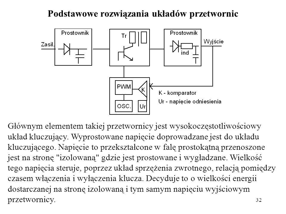 32 Podstawowe rozwiązania układów przetwornic Głównym elementem takiej przetwornicy jest wysokoczęstotliwościowy układ kluczujący.