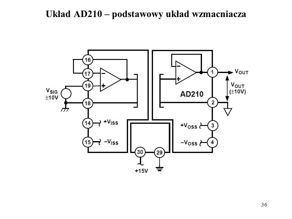 36 Układ AD210 – podstawowy układ wzmacniacza