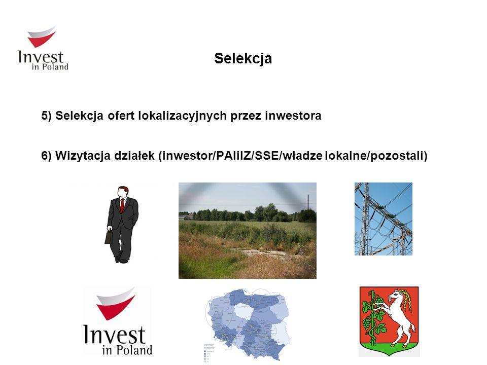 Selekcja 5) Selekcja ofert lokalizacyjnych przez inwestora 6) Wizytacja działek (inwestor/PAIiIZ/SSE/władze lokalne/pozostali)