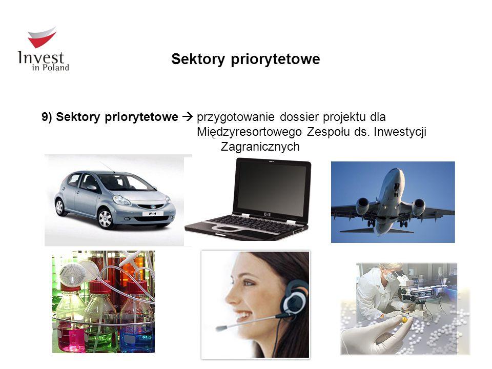 Sektory priorytetowe 9) Sektory priorytetowe  przygotowanie dossier projektu dla Międzyresortowego Zespołu ds. Inwestycji Zagranicznych