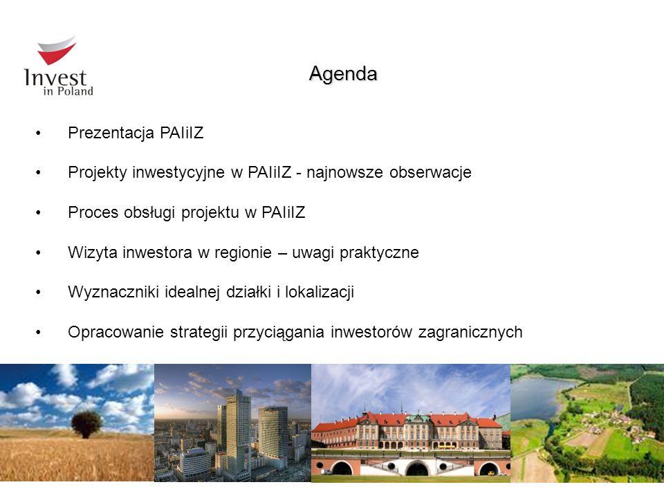 Agenda Prezentacja PAIiIZ Projekty inwestycyjne w PAIiIZ - najnowsze obserwacje Proces obsługi projektu w PAIiIZ Wizyta inwestora w regionie – uwagi p