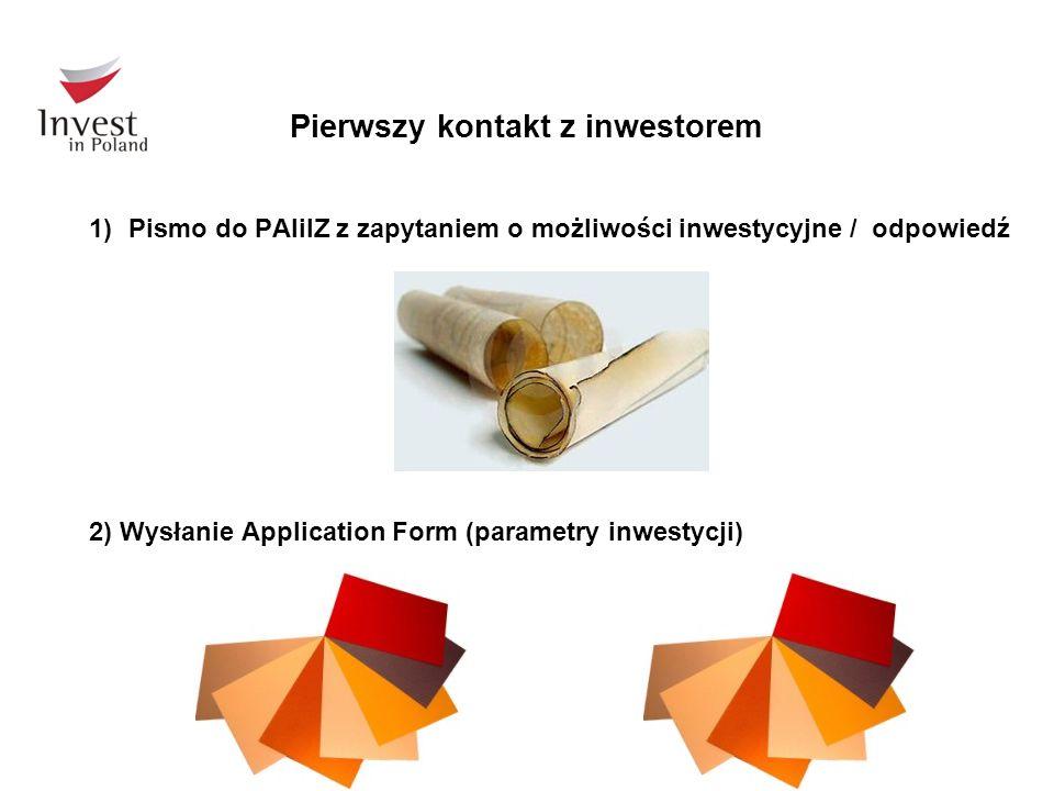 Pierwszy kontakt z inwestorem 1)Pismo do PAIiIZ z zapytaniem o możliwości inwestycyjne / odpowiedź 2) Wysłanie Application Form (parametry inwestycji)