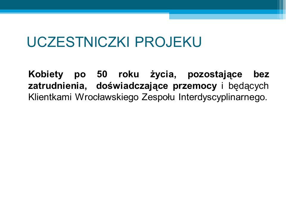 UCZESTNICZKI PROJEKU Kobiety po 50 roku życia, pozostające bez zatrudnienia, doświadczające przemocy i będących Klientkami Wrocławskiego Zespołu Interdyscyplinarnego.
