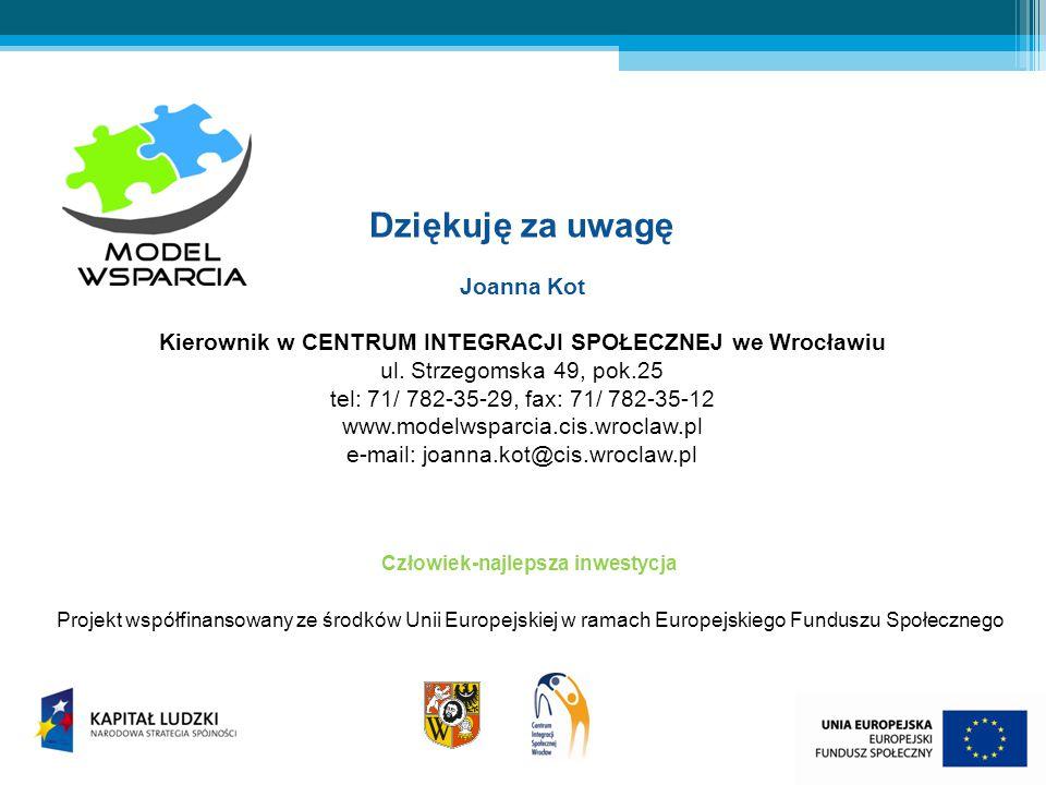 Dziękuję za uwagę Joanna Kot Kierownik w CENTRUM INTEGRACJI SPOŁECZNEJ we Wrocławiu ul.