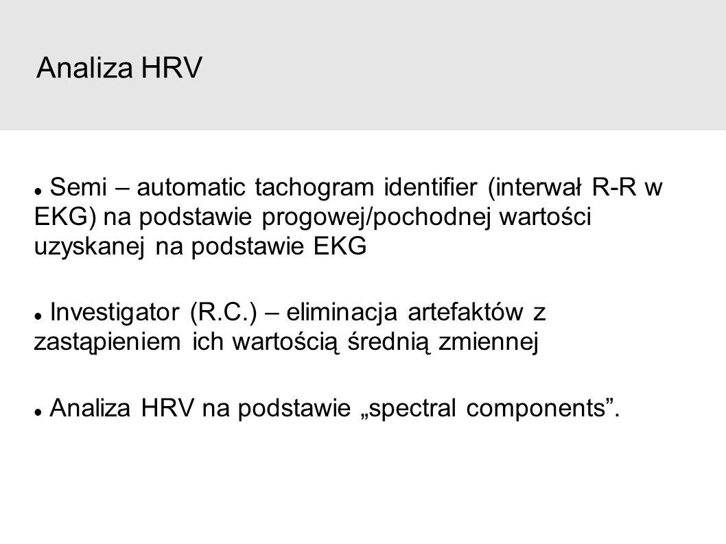 """Analiza HRV Semi – automatic tachogram identifier (interwał R-R w EKG) na podstawie progowej/pochodnej wartości uzyskanej na podstawie EKG Investigator (R.C.) – eliminacja artefaktów z zastąpieniem ich wartością średnią zmiennej Analiza HRV na podstawie """"spectral components ."""