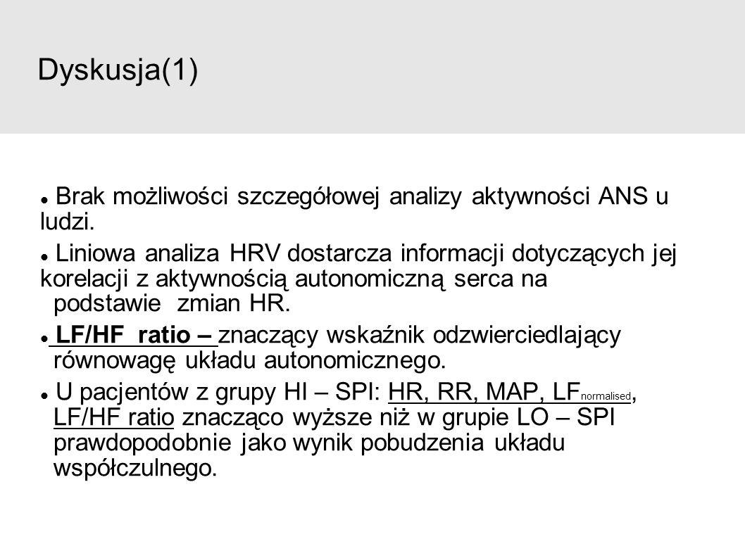 Dyskusja(1) Brak możliwości szczegółowej analizy aktywności ANS u ludzi. Liniowa analiza HRV dostarcza informacji dotyczących jej korelacji z aktywnoś