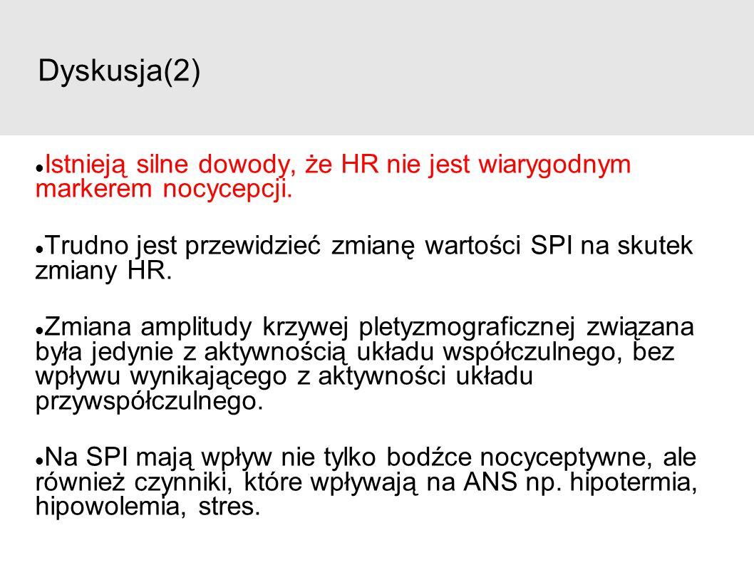 Dyskusja(2) Istnieją silne dowody, że HR nie jest wiarygodnym markerem nocycepcji. Trudno jest przewidzieć zmianę wartości SPI na skutek zmiany HR. Zm