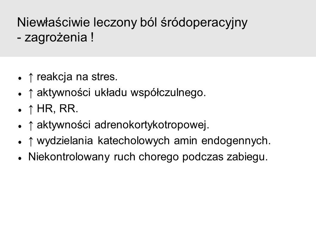 Niewłaściwie leczony ból śródoperacyjny - zagrożenia ! ↑ reakcja na stres. ↑ aktywności układu współczulnego. ↑ HR, RR. ↑ aktywności adrenokortykotrop