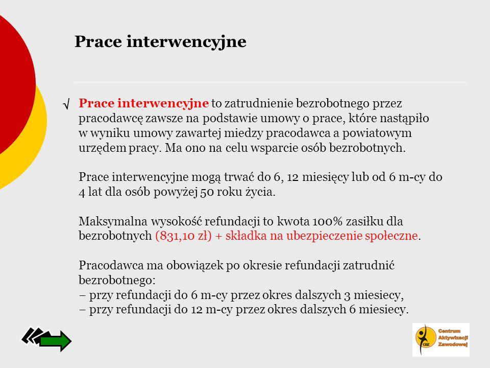Prace interwencyjne to zatrudnienie bezrobotnego przez pracodawcę zawsze na podstawie umowy o prace, które nastąpiło w wyniku umowy zawartej miedzy pr