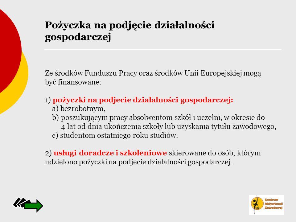 Ze środków Funduszu Pracy oraz środków Unii Europejskiej mogą być finansowane: 1) pożyczki na podjecie działalności gospodarczej: a) bezrobotnym, b) p