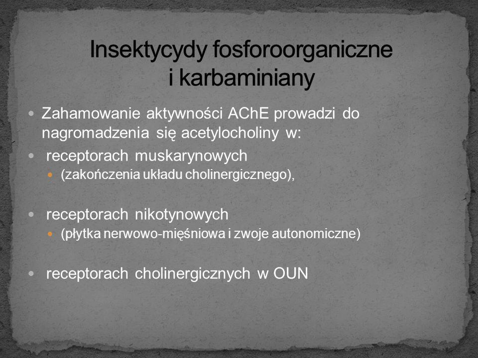 Mechanizm toksyczności: wiążą się z seryną esterazowego centrum acetylocholinesterazy (AChE) w tkance nerwowej i krwinkach czerwonych oraz cholinester