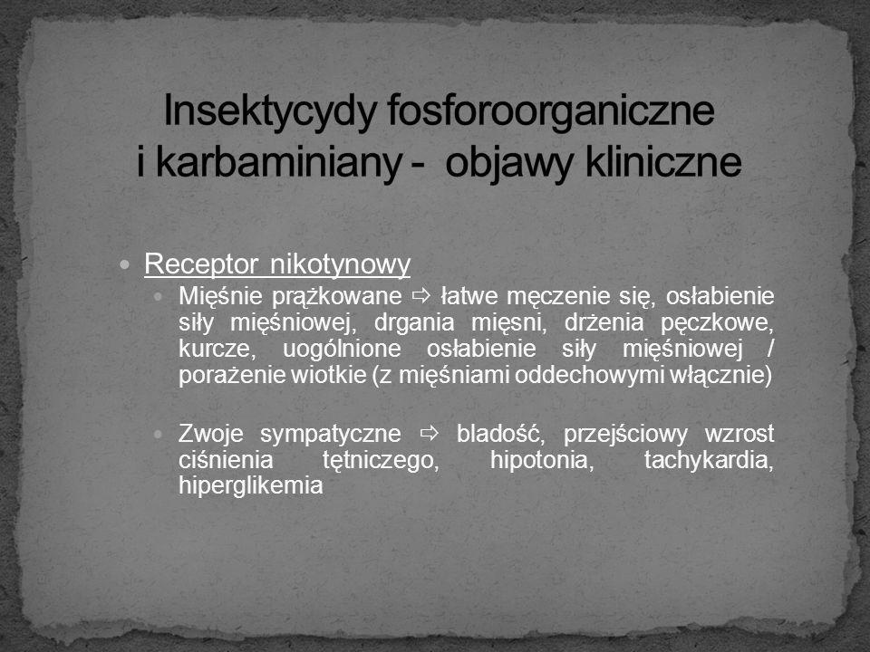 Receptor muskarynowy - objawy ogólne Układ krążenia  bradykardia Gruczoły potowe  wzmożone pocenie Gruczoły ślinowe  wzmożone ślinienie Gruczoły łz