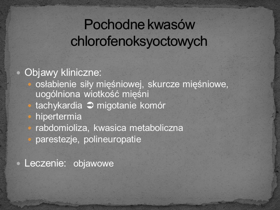 Mechanizm działania: są słabymi inhibitorami oksydatywnej fosforylacji zespół przegrzania (wzrost temperatury, przyspieszenie procesów metabolicznych)
