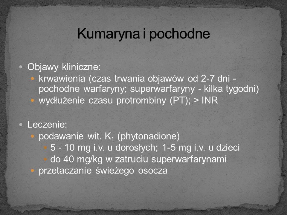 """Warfaryna - pochodna kumaryny (kumadin) """"Superwarfaryny"""" – pochodne 4-hydroksy-warfaryny (brodifakum, difacinon, bromadiolon, pindon) Mechanizm działa"""