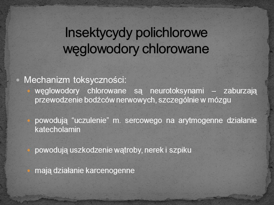 Mechanizm toksyczności: węglowodory chlorowane są neurotoksynami – zaburzają przewodzenie bodźców nerwowych, szczególnie w mózgu powodują uczulenie m.