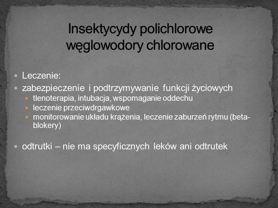Receptory cholinergiczne w oun: uogólnione wiotkie porażenie depresja ośrodka oddechowego i krążeniowego z dusznością, sinicą, hipotensją; drgawki, utrata przytomności – śpiączka